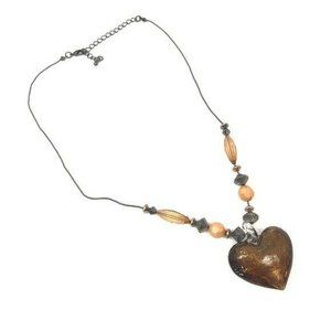 Glass brown heart pendant statement necklace